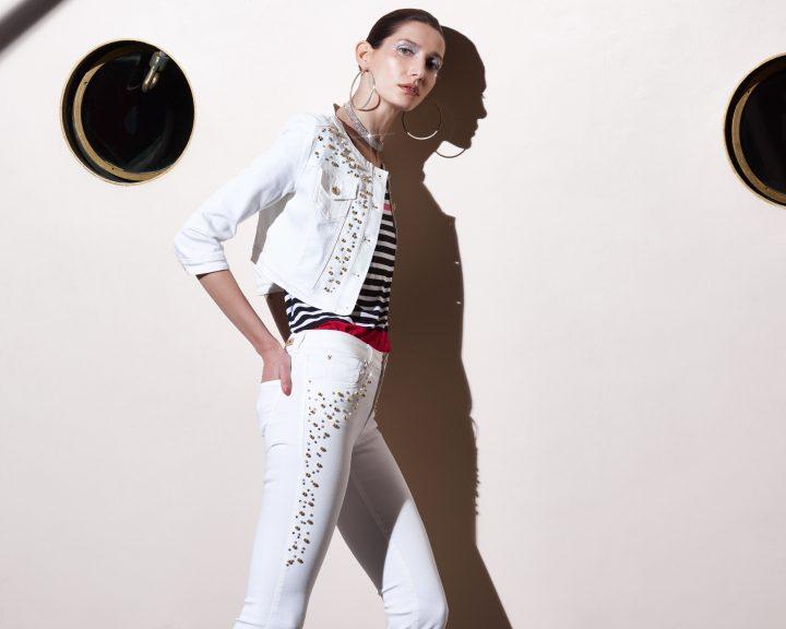 Conjunto con perlas jean blanco
