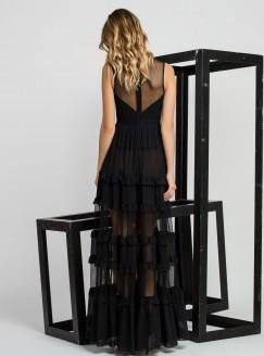 Vestido de coctel negro con encaje sensse